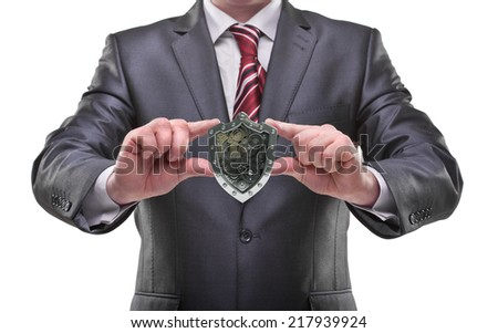 businessman hands holding shield Isolated on white background  - stock photo