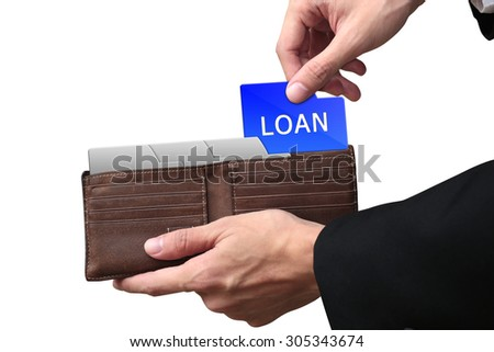 Businessman hands pulling folder Loan concept on brown wallet. - stock photo
