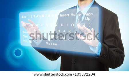 Businessman Hands pushing a button on a touch screen - stock photo