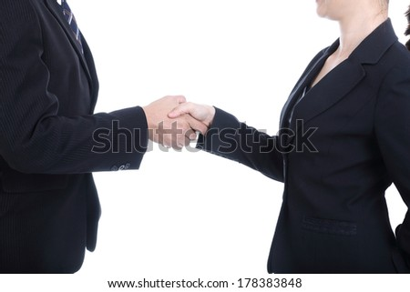 Businessman handshake for good relationship with thier marketing.