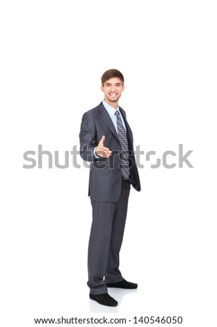 businessman handshake, hold hand welcome gesture, Handsome young excited business man happy smile wear elegant gray suit and tie full length portrait isolated over white background - stock photo