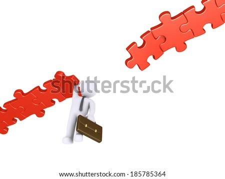 Businessman hanging at the edge of a damaged puzzle path - stock photo