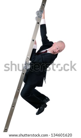businessman hanging on to ladder isolated on white background - stock photo