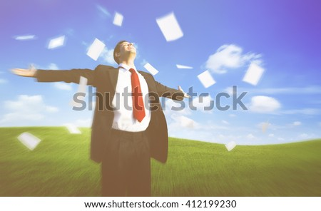 Businessman Happiness Cheerful Flying Paper Relaxation Concept - stock photo