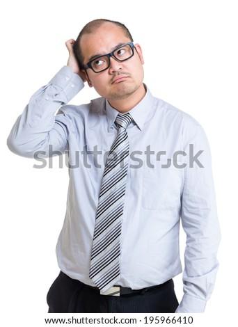 Businessman hard to make decision - stock photo