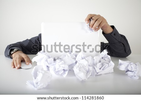 Businessman hard working in the documents - stock photo