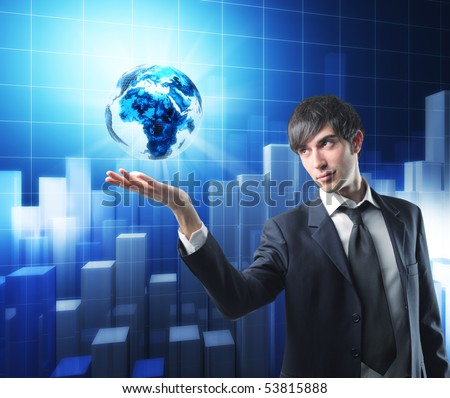 businessman has earth in his hand, graphic 3d stat background - stock photo