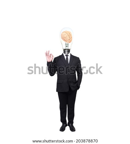 businessman have brain inside a light bulb posed gesturing ok sign cheerful and gesturing ok sign while standing  idea concept for creativity on white background with clipping path - stock photo