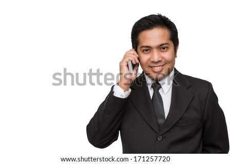 Businessman having a phonecall - stock photo