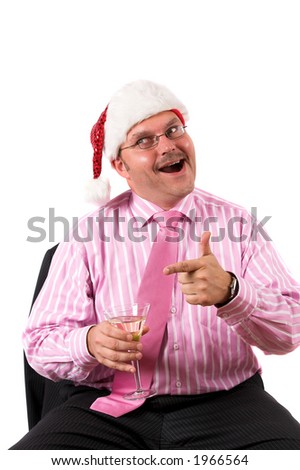 Businessman having fun at the christmas party - stock photo