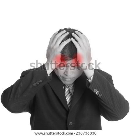 Businessman headache after finished meeting with black and white style  - stock photo