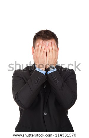 businessman headache, pain, tired, overwork cover face with hands, handsome young businessman decide problem, wear elegant suit, isolated over white background - stock photo