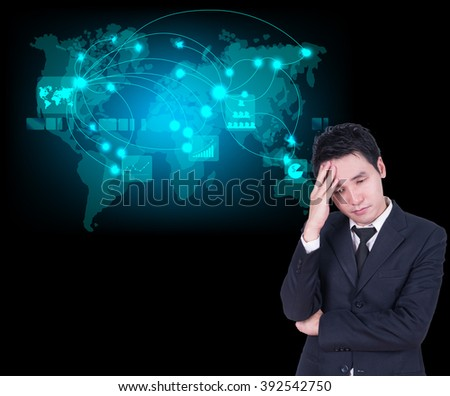 businessman headaches with map world