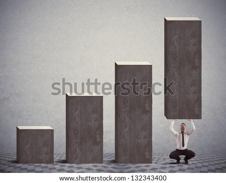 Businessman help negative statistics of crisis - stock photo
