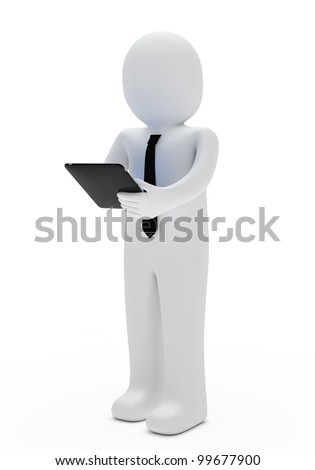 businessman hold a tablet in his hand