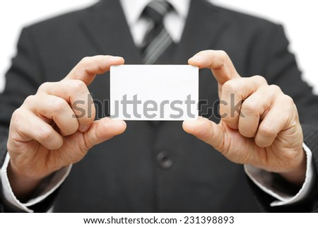 businessman hold business card , company identity