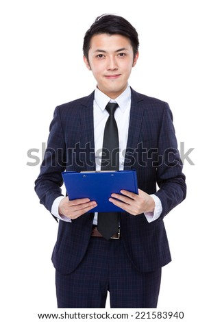 Businessman hold clipboard