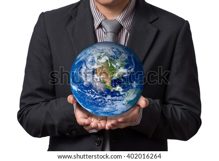 Businessman hold earth on hand,Elements of this image furnished by NASA