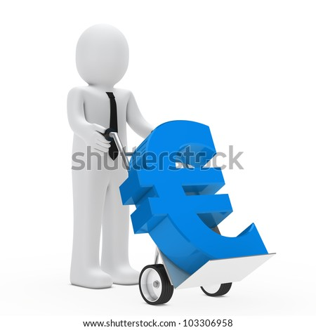 businessman hold hand truck with blue euro - stock photo