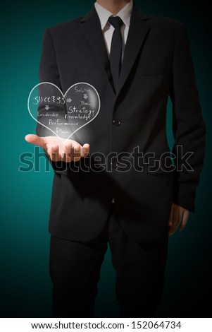 businessman hold heart of concept business - stock photo