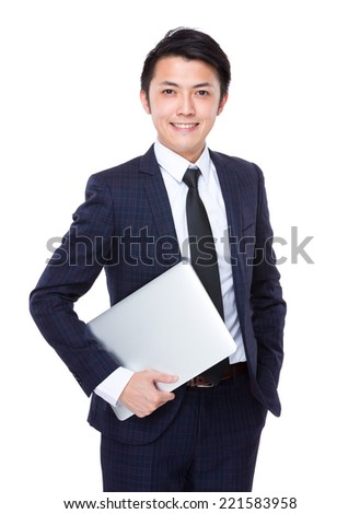 Businessman hold laptop