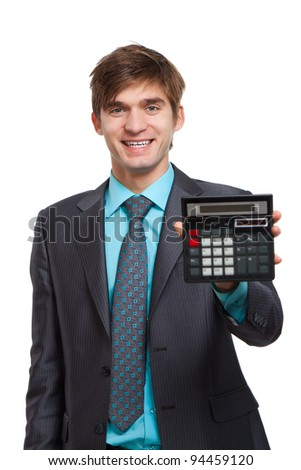 businessman hold show calculator, handsome young business man standing smile looking at camera, wear elegant suit and tie isolated over white background - stock photo