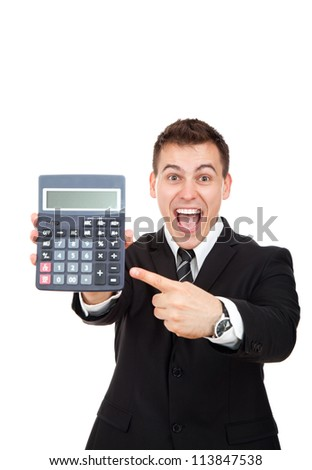 businessman hold show calculator point finger on it, handsome young excited business man standing smile looking at camera, wear elegant shirt and tie isolated over white background