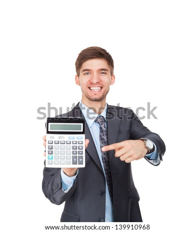 businessman hold show calculator point finger on it, handsome young excited business man standing smile looking at camera, wear elegant suit and tie isolated over white background