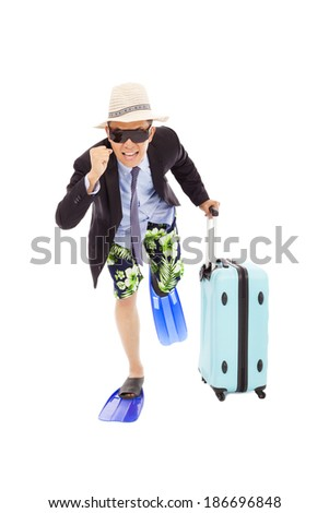 businessman holding a baggage  to  run - stock photo