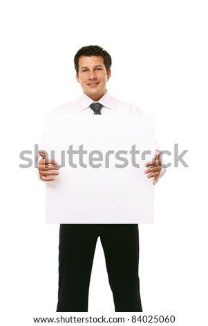 Businessman holding a banner ad isolated on white - stock photo