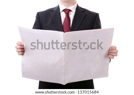 businessman holding a blank news paper isolated on white - stock photo
