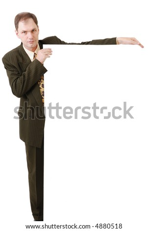 Businessman holding a blank sign