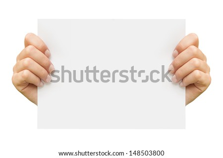 Businessman holding a blank white board. Male hands holding a blank white panel - stock photo