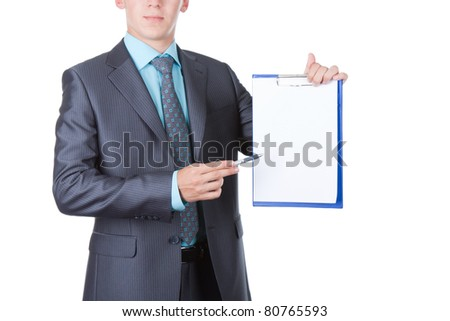 businessman holding a blank white board, signboard, showing an empty bill board against white background - stock photo
