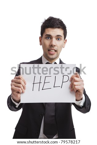 Businessman holding a cardboard with the text Help, isolated on white background - stock photo