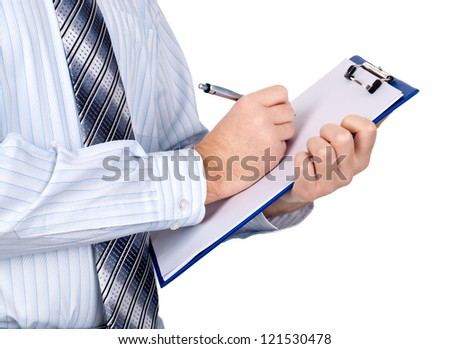 Businessman Holding A Clipboard And Writing - stock photo
