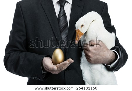 Businessman holding a goose that lays golden eggs - stock photo