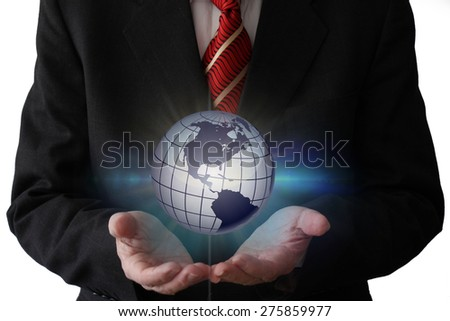 Businessman Holding a Hologram of The World