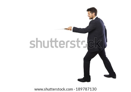 businessman holding a knife