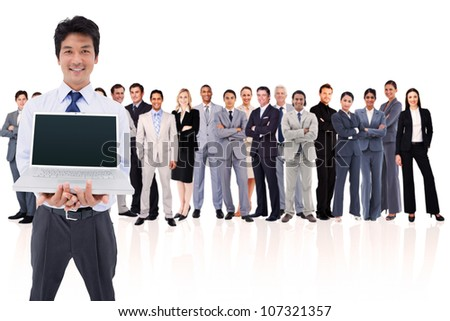 Businessman holding a laptop against a white background