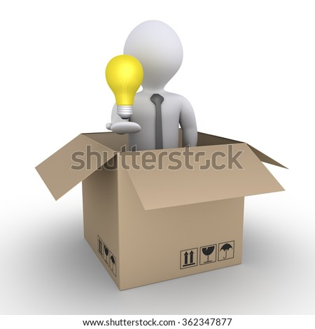 Businessman holding a light bulb is inside a carton box