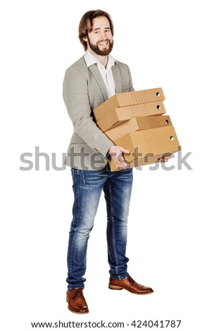 Businessman holding a many folder isolated on white background. Concept of difficult career of a businessman