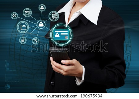 Businessman holding a mobile phone with Authentication. Concept of security on business. - stock photo