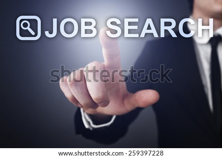 businessman holding a mobile phone with job search. business concept. - stock photo