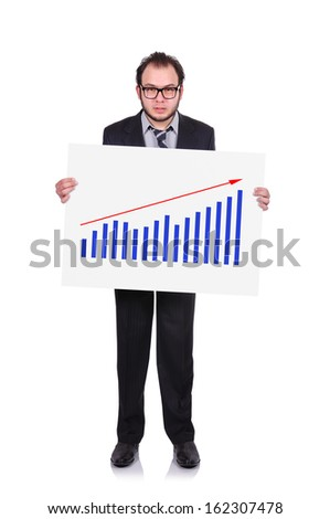 businessman holding a placard with chart of profits - stock photo