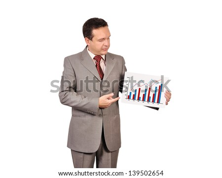 businessman holding a placard with profits - stock photo
