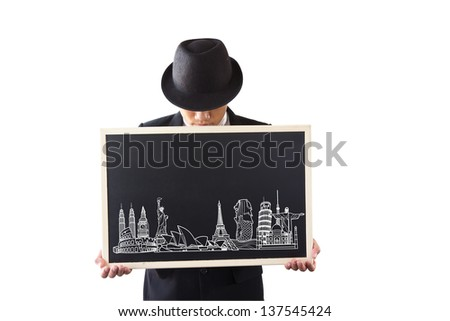 Businessman holding a sign. World Tour. - stock photo