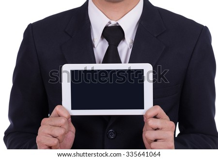 Businessman holding a small tablet touch computer isolated on white background - stock photo