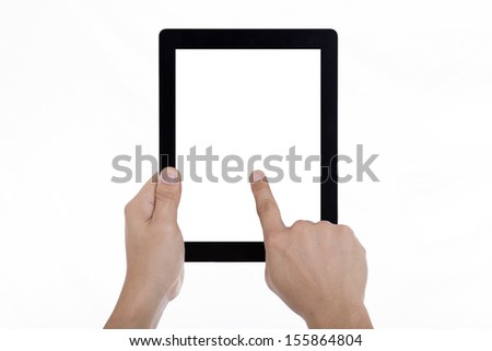 Businessman holding a tablet. - stock photo