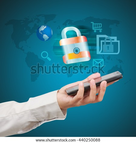 Businessman holding a tablet and showing concept of online business security. - stock photo